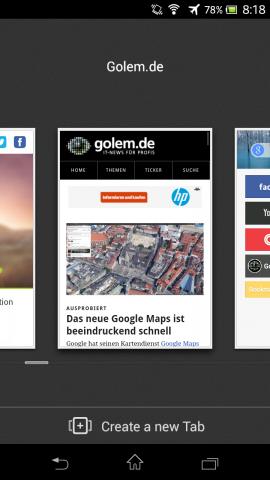 Next Browser - Schieberegler in der Tab-Übersicht bei mehr als zehn offenen Tabs (Bild: Golem.de)