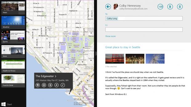 Geteilte App-Ansicht von Windows 8.1 (Bild: Microsoft)