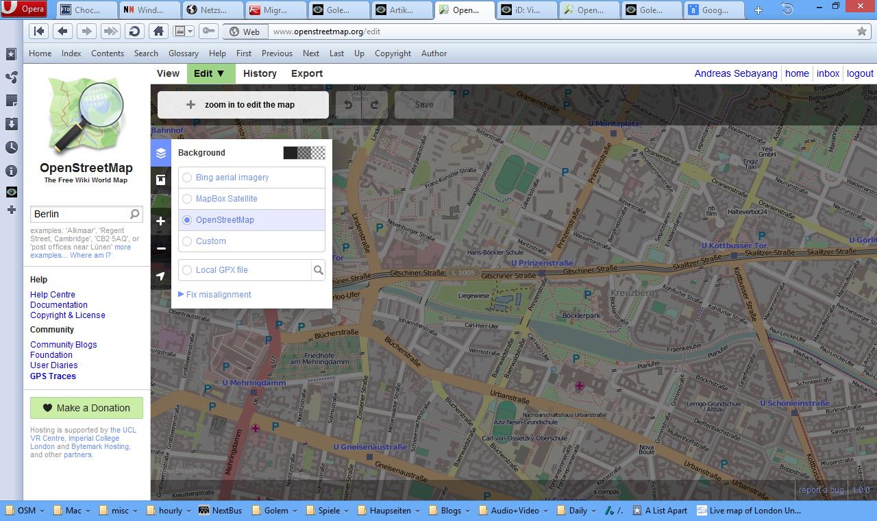 Openstreetmap: Leicht bedienbarer iD-Editor nun in der Standardauswahl - iD Editor (Screenshot: Golem.de)