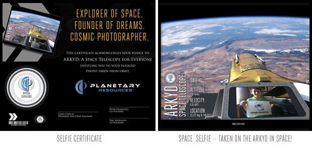 Crowdfunding: Planetary Resources porträtiert Geldgeber im All - Zum Selfie gbt es en Zertifikat, (Bild: Planetary Resources)