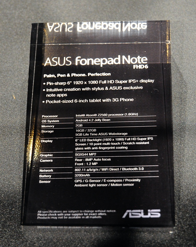 Asus: 3-in1-PC, Tegra-4-Tablet und Fonepad Note - Daten des Fonepad Note