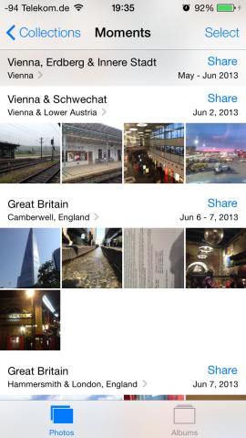 Die neue Galerie legt sogenannte Momente automatisch zusammen. (Screenshot: Golem.de)