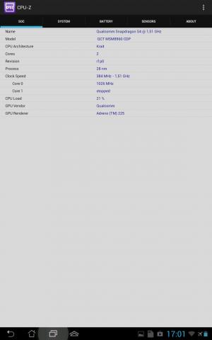 CPU-Z auf dem Transfomer Pad Infinity zeigt den Core-Takt, ... (Screenshots: Golem.de)