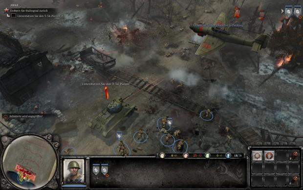 Die Stadt Stalingrad ist im Spiel besonders stark umkämpft. (Screenshots: Golem.de)