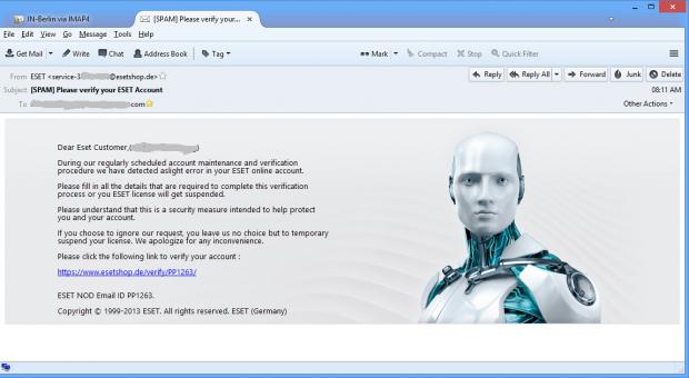 Eine Phishing-E-Mail zu einer Endpoint-Lizenz. Das Hintergrundbild wird vom Eset-Server aus geladen. (Screenshot: Golem.de)
