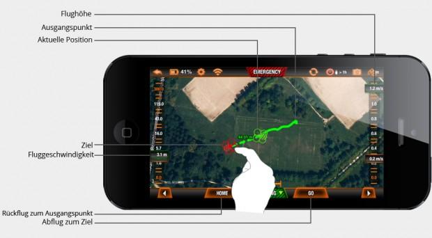 Flugpfad setzen per Karten-App (Bild: Parrot)