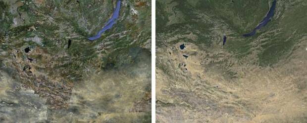 Mongolei: links alt, rechts neu (Bild: Google)