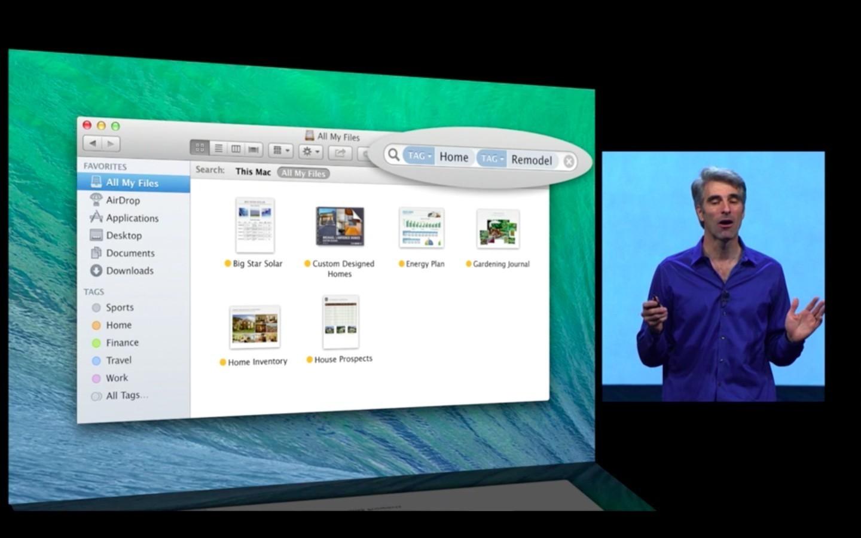 Mac OS X 10.9: Apple verkauft Mavericks ab Herbst 2013 - Tags in Mac OS X (Apple/Screenshot: Golem.de)