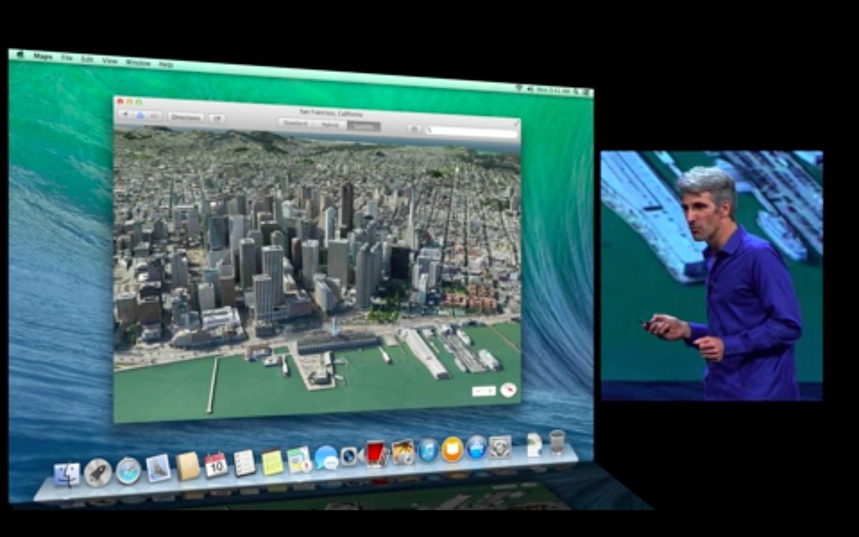 Mac OS X 10.9: Apple verkauft Mavericks ab Herbst 2013 - Neue Maps-App (Apple/Screenshot: Golem.de)