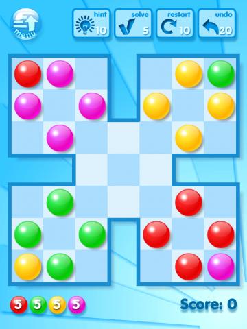 Um die Murmeln abzuräumen, muss der Spieler jeweils drei auf eine Reihe bringen. (Bilder: Golem.de)