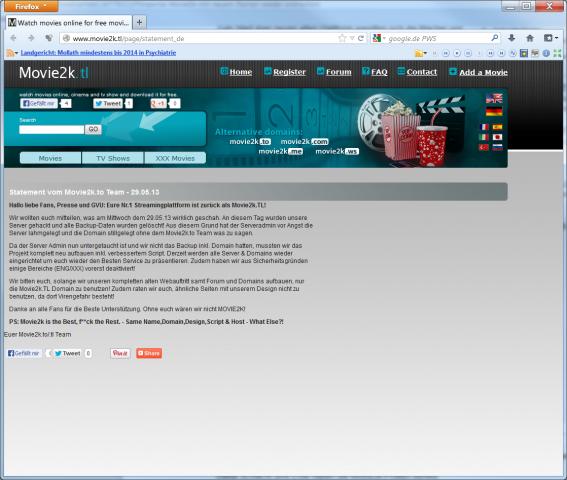 Die Stellungnahme des neuen Movie2k (Screenshot: Golem.de)