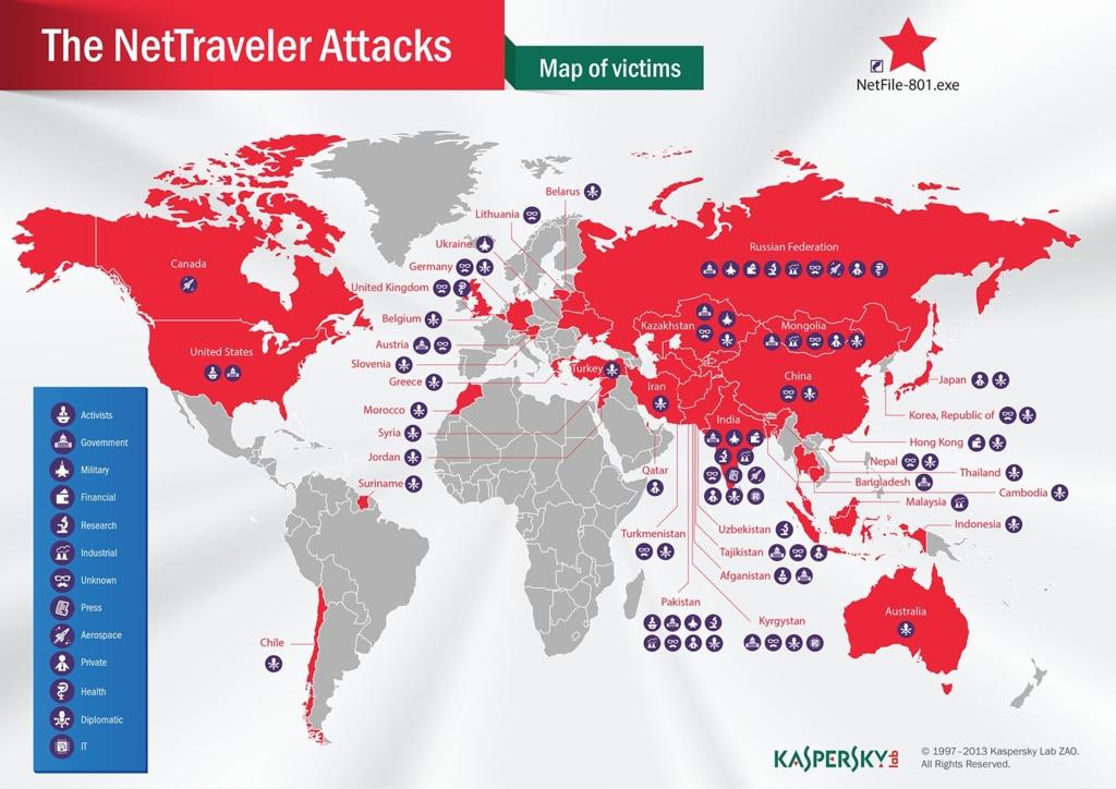 Nettraveler: Jahrelange Cyberspionage-Kampagne in Deutschland aufgedeckt - Karte der Nettraveler-Opfer (Bild: Kasperksy Lab)
