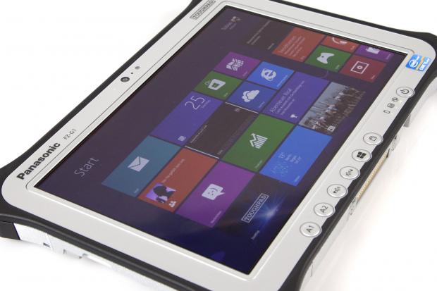 Das FZ-G1 von Panasonic ist ein Windows-8-Tablet mit besonders robustem Gehäuse. (Bilder: Nina Sebayang/Golem.de)