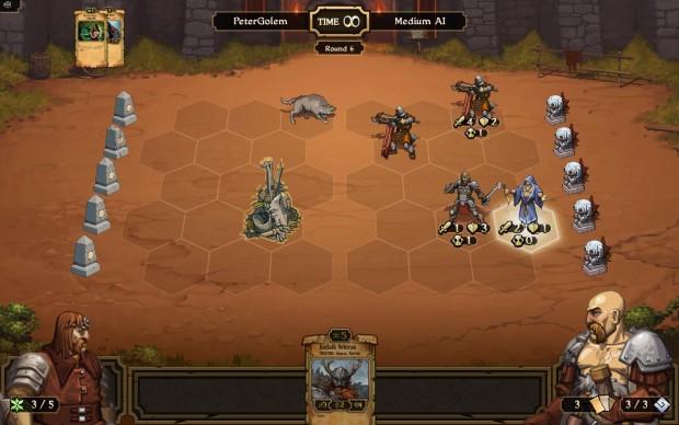 Jeder Spieler versucht, die fünf Statuen an der Seite des Bildschirmrands zu zerstören. (Bilder: Golem.de)