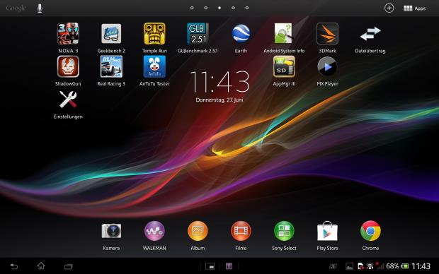 Die Sony-Benutzeroberfläche des Xperia Tablet Z. (Screenshot: Golem.de)