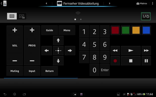 Mit der Fernbedienungs-App und dem integrierten IR-Sensor können unterschiedliche Geräte gesteuert werden. (Screenshot: Golem.de)