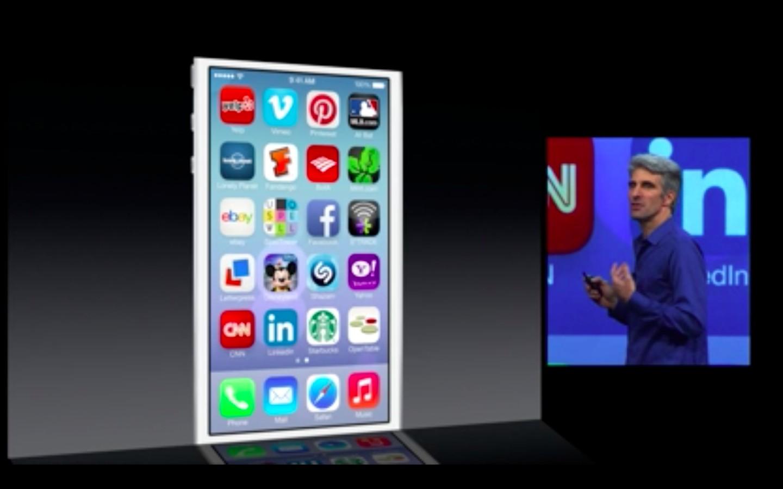Apple: iOS 7 mit Multitasking und neuem Interface - Apples iOS 7 erkennt Muster in der App-Nutzung und schaltet Multitasking je App-Muster frei. (Bild: Apple/Screenshot: Golem.de)