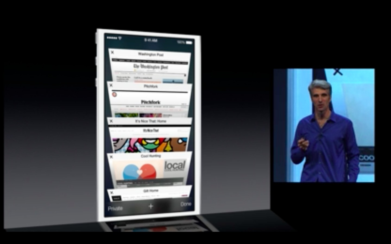 Apple: iOS 7 mit Multitasking und neuem Interface - Safari unter iOS 7 mit neuer Tab-Ansicht (Bild: Apple/Screenshot: Golem.de)