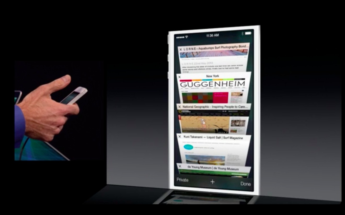 Apple: iOS 7 mit Multitasking und neuem Interface - Safari unter iOS 7 (Bild: Apple/Screenshot: Golem.de)