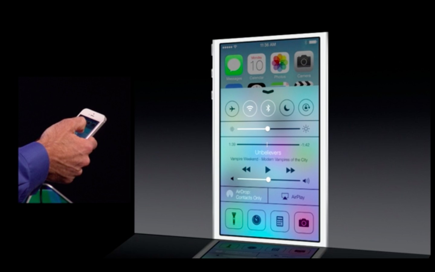 Apple: iOS 7 mit Multitasking und neuem Interface - Control Center unter iOS 7 (Bild: Apple/Screenshot: Golem.de)
