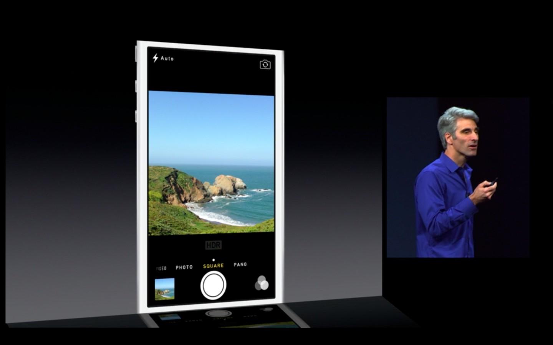 Apple: iOS 7 mit Multitasking und neuem Interface - Vier Kamera-Apps in einer (Bild: Apple/Screenshot: Golem.de)