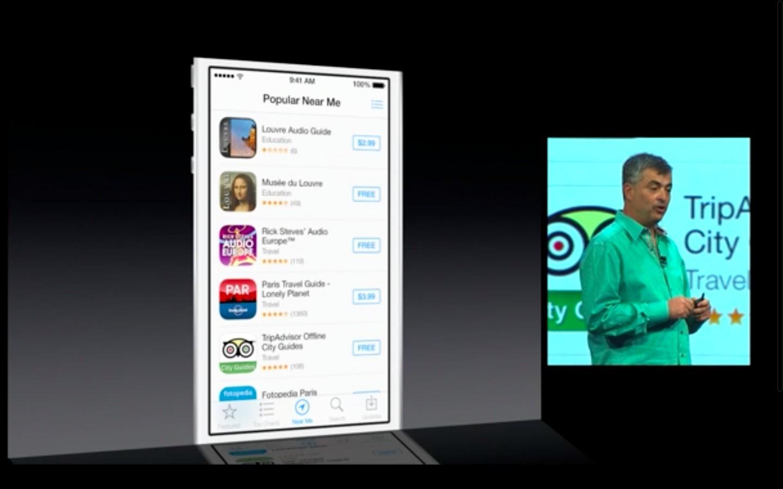 Apple: iOS 7 mit Multitasking und neuem Interface - Beliebte Apps in meiner Umgebung (Bild: Apple/Screenshot: Golem.de)