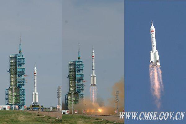 Start einer Langer-Marsch-Trägerrakete mit der Shenzhou X am 11. Juni 2013 (Foto: CSME)