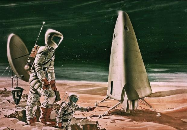 So stellte sich die Nasa eine Marslandung 1964 vor. (Aeronutronic Divison, Philco Corp/NASA)