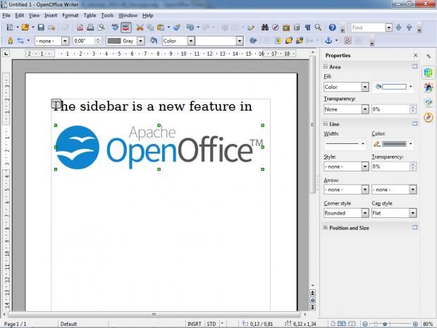 Die neue Seitenleiste in Openoffice 4.0 (Bild: Apache.org)