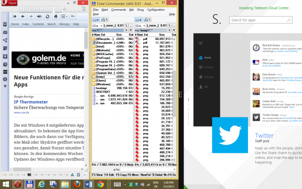 Klassisches Side-by-Side (l.) kombiniert mit modernem Side-by-Side in der Windows 8.1 Vorschau (Screenshot: Golem.de)