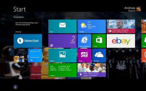 Mit dem Startknopf kann entweder der Startbildschirm... (Screenshot: Golem.de)