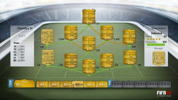 Das Chemistry-System von Fifa 14 (Bilder: EA Sports)