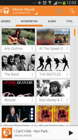 Nach dem Update der Android App von Play Music erscheint in der rechten oberen Ecke das neue Chromecast-Symbol. (Screenshot: Golem.de)