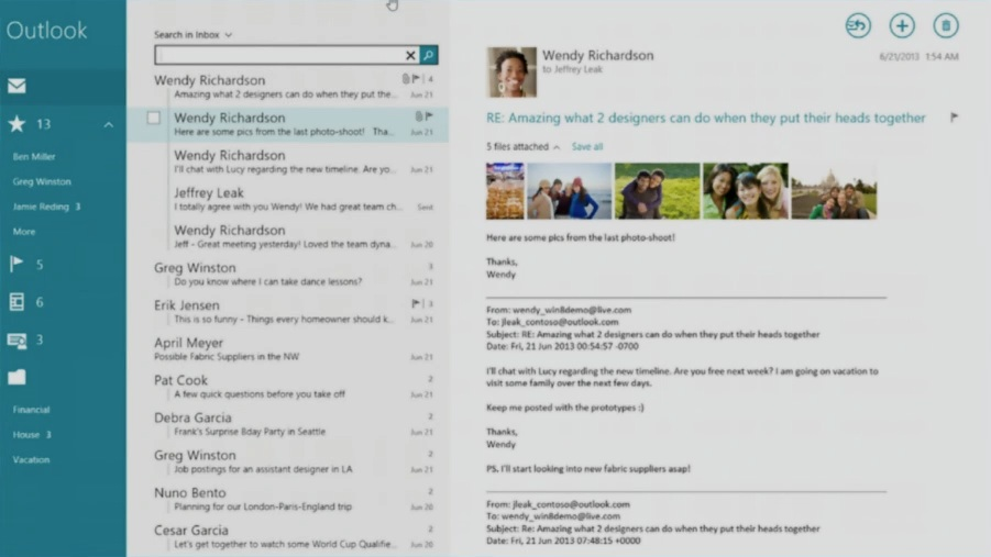 Microsoft: Neue Mail App für Windows 8.1 - Suche direkt in die Mail App integriert (Screenshot: Golem.de)