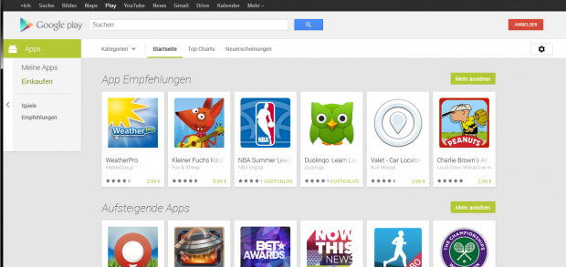 Googles neuer Play Store im Browser (Screenshot: Golem.de)