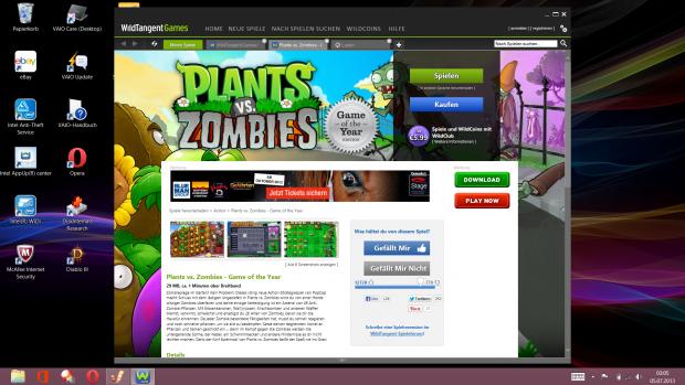 Wild Tangent Games sind vorinstalliert. (Screenshot: Golem.de)