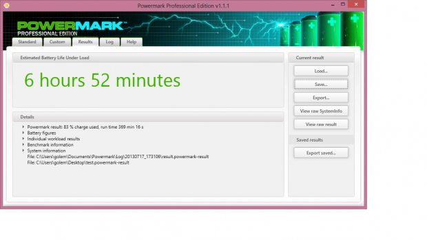 6 bis 7 Stunden Laufzeit sind bei leichten Arbeiten möglich. (Screenshot: Golem.de)