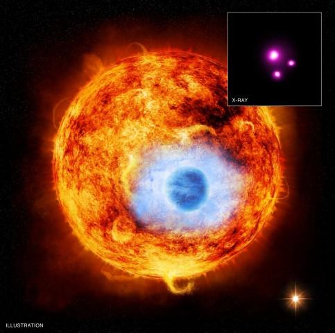 Künstlerische Darstellung eines Transits beim Durchgang des Planeten HD 189733b vor dem Stern HD 189733 (Bild: X-ray: K. Poppenhaeger et al./Nasa/CXC/SAO; Illustration: Nasa)