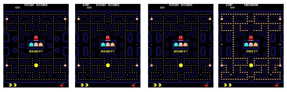 Kopierschutz: DRM frisst Pac-Man - Keines davon ist Pac-Man. Es sind die Klone Hangly Man, New Puck X, New Puck 2 und Scandleman. (Bild: Peter Smets)
