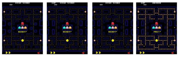 Keines davon ist Pac-Man. Es sind die Klone Hangly Man, New Puck X, New Puck 2 und Scandleman. (Bild: Peter Smets)
