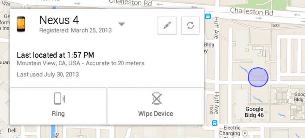 Auf einer Karte wird das verlorene Smartphone oder Tablet angezeigt. (Bild: Google)
