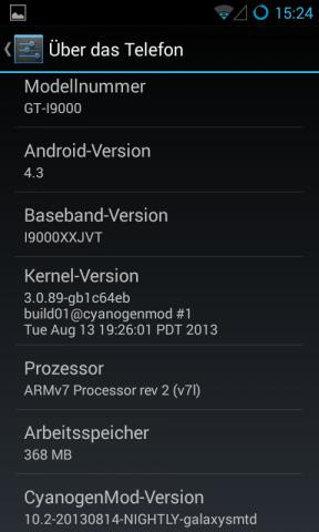 Cyanogenmod 10.2 auf dem Samsung Galaxy S (Screenshot: Golem.de)