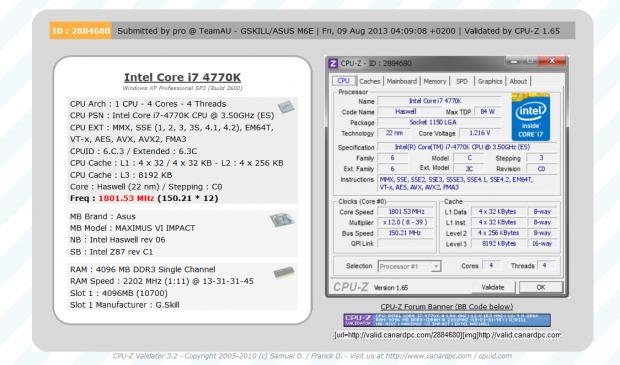 Validiertes CPU-Z-Ergebnis: Bustakt über 150 MHz (Bilder: G.Skill)
