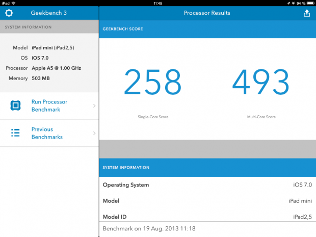 Geekbench 3 auf dem iPad Mini (Screenshot: Golem.de)