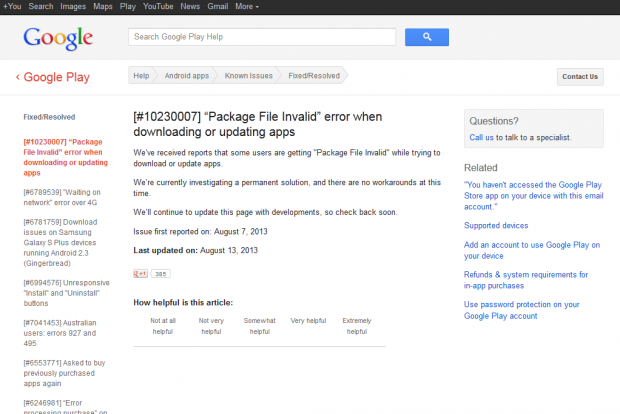 Eintrag in Googles Supportbereich zur Fehlermeldung bei der Installation von Android-Apps (Bild: Screenshot: Golem.de)
