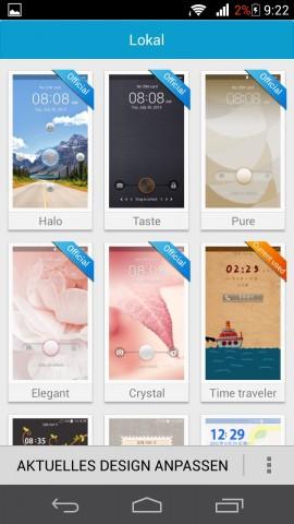 Mit Emotion UI können leicht verschiedene Designs ausgewählt werden. (Screenshot: Golem.de)