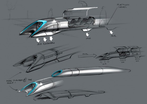 Hyperloop-Konzeptzeichnung (Bilder: Elon Musk/SpaceX)