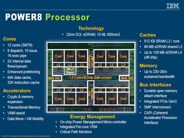 Der Power8 bietet zwölf Kerne mit je 512 KByte L2 und dazu insgesamt 96 MByte L3-Cache. (Bild: IBM/Screenshot: Golem.de)