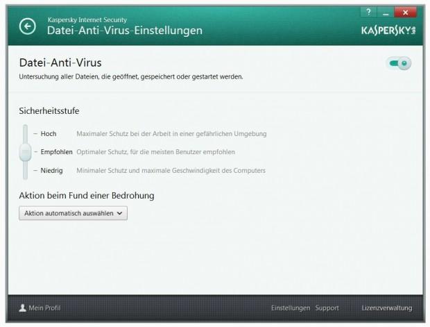 Kaspersky Internet Security 2014 - Einstellungsdialog für die Funktion Datei-Anti-Virus (Bild: Kaspersky Lab)