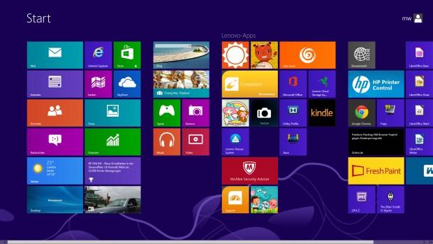 Windows 8 x64 samt Modern GUI (Screenshot: Golem.de)